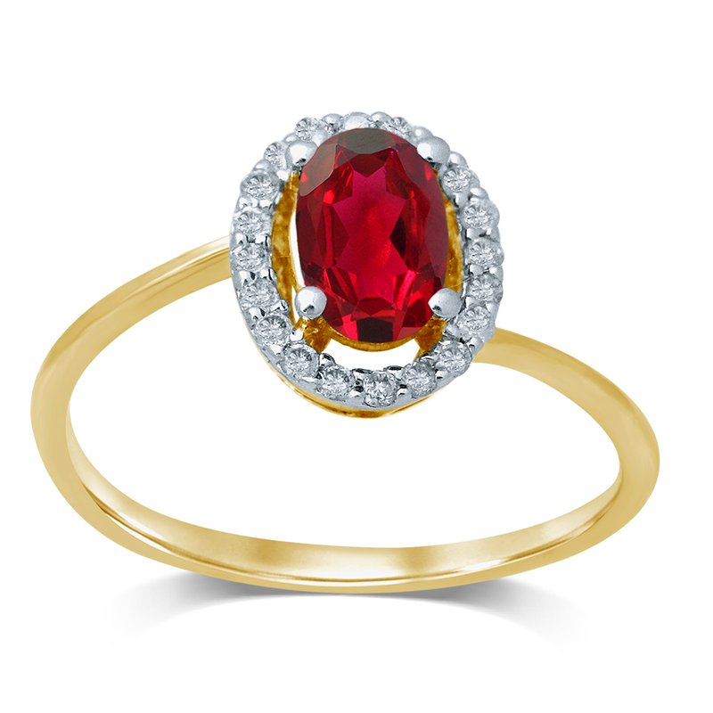 Elite Collection 14K  0.15Ctdiamond  Ruby  Ring