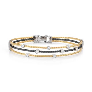 Black & Yellow Cable Triple Strand Bracelet with 18kt White Gold & Diamonds