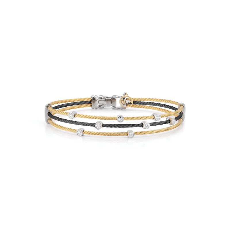 ALOR Black & Yellow Cable Triple Strand Bracelet with 18kt White Gold & Diamonds