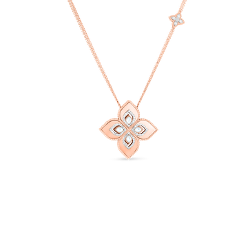 18KT MEDIUM FLOWER PENDANT W. MOTHER-OF-PEARL & DIAMOND