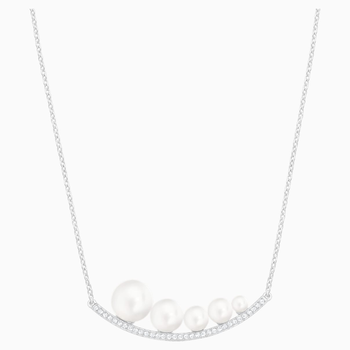 Fundamental Necklace, White, Rhodium plated