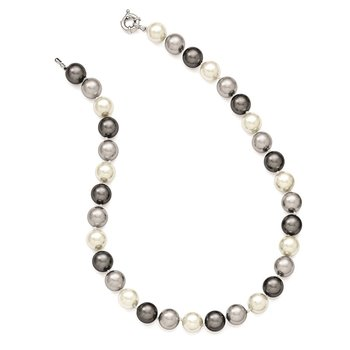 Sterling S Majestik Rh-pl 12-13mm Multicolor Imitat Shell Pearl Necklace