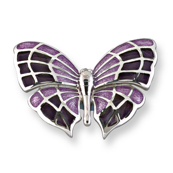Fine Enamels Sterling Silver Butterfly Brooch-Purple