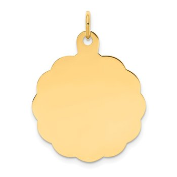 14k .013 Gauge Engravable Scalloped Disc Charm