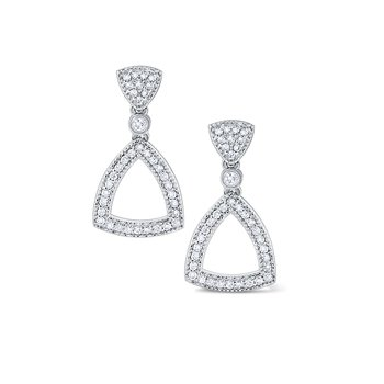Diamond Open Triangular Frame Earrings