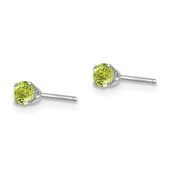 14k White Gold 3mm Peridot Stud Earrings