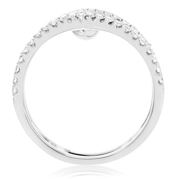 Marquise Cut White Diamond Cuff Ring