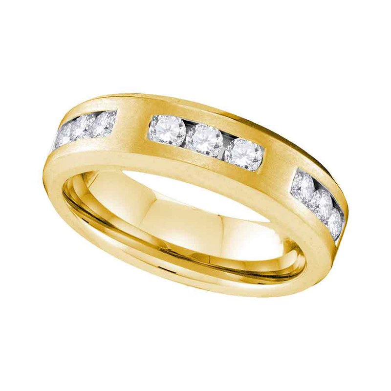 Gold-N-Diamonds, Inc. (Atlanta) 10k Yellow Gold Mens Round Diamond Wedding Anniversary Band Ring 1.00 Cttw