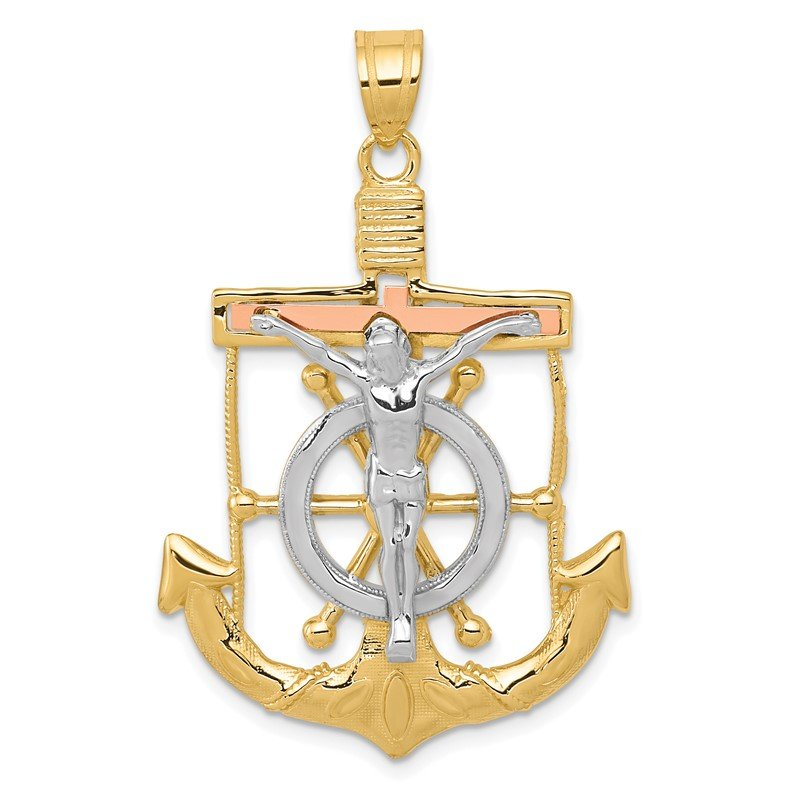 Quality Gold 14k Tri-color Diamond-cut w/Textured Mariner's Cross Pendant