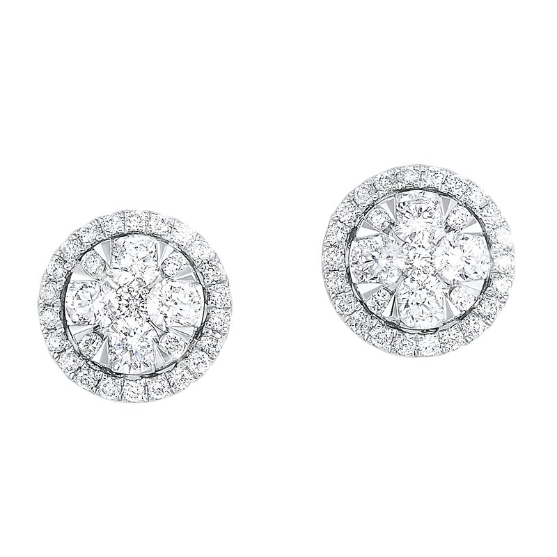 Gems One Oval Halo Diamond Earrings in 14K White Gold (1 ct. tw.)