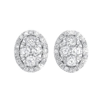 Oval Halo Diamond Earrings in 14K White Gold (1 ct. tw.)