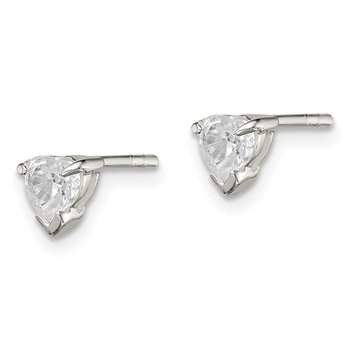Sterling Silver 4mm Heart Basket Set CZ Stud Earrings