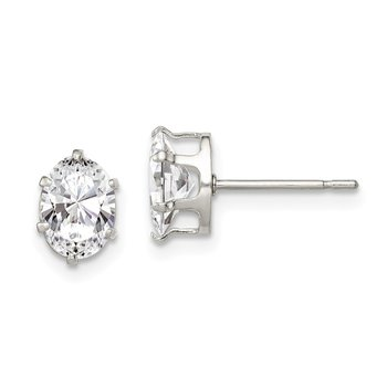Sterling Silver 7x5 Oval Snap Set CZ Stud Earrings