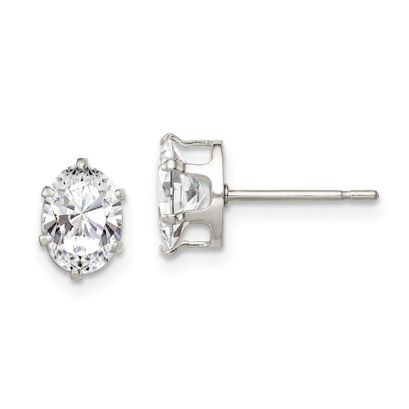 Quality Gold Sterling Silver 7x5 Oval Snap Set CZ Stud Earrings