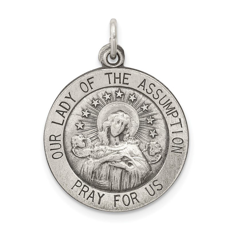 Quality Gold Sterling Silver Antiqued Our Lady of the Assumption Medal