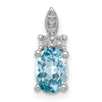 Sterling Silver Rhodium-plated Diamond & Light Blue Topaz Pendant