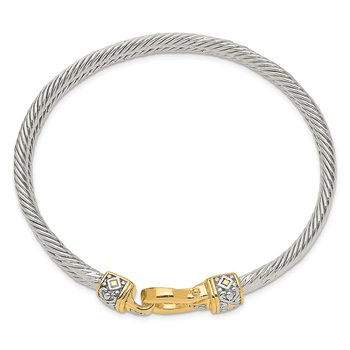 Sterling Silver Flash Gold-plated Antique Double Strand Hook Bangle