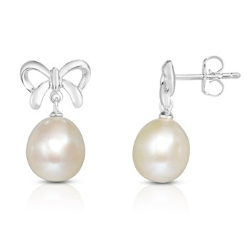 Silver Freshwater Pearl with Bow Drop Earrings