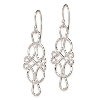 Sterling Silver Rhodium Plated Knot Design Dangle Earrings