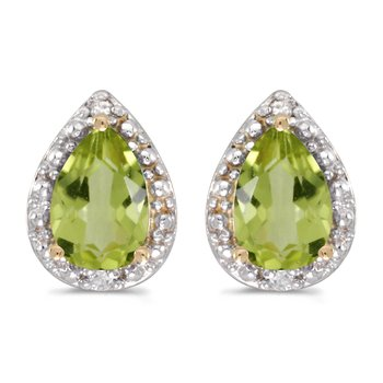 10k Yellow Gold Pear Peridot And Diamond Earrings