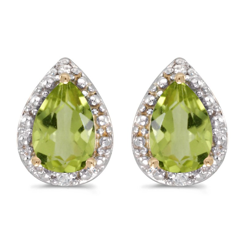 Color Merchants 10k Yellow Gold Pear Peridot And Diamond Earrings