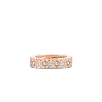 1 Row Square Ring With Diamonds &Ndash; 18K Rose Gold, 8