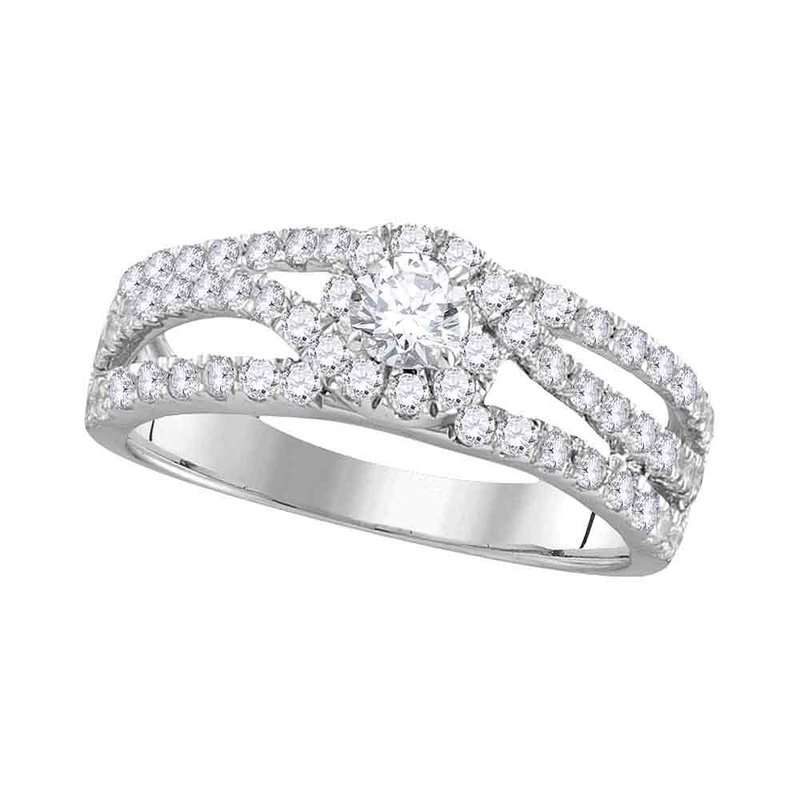 Gold-N-Diamonds, Inc. (Atlanta) 14kt White Gold Womens Round Diamond Solitaire Open Bridal Wedding Engagement Ring 1.00 Cttw