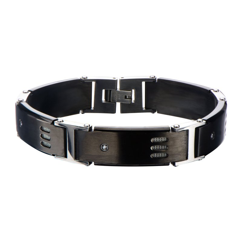 INOX Black Plated Gun Metal with CZ Bracelet