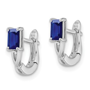 Sterling Silver Rhodium Plated Sapphire Hinged Hoop Earrings