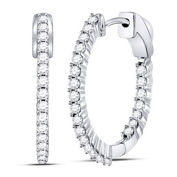 10kt White Gold Womens Round Diamond Inside Outside Hoop Earrings 1.00 Cttw