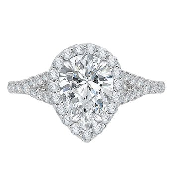 14K White Gold Pear Diamond Halo Engagement Ring with Split Shank (Semi-Mount)