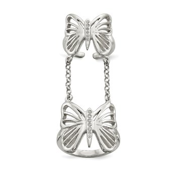 Sterling Silver Polished CZ Butterfly Double Finger Ring