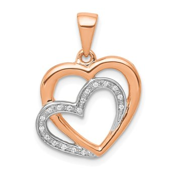 14k Rose Gold w/ Rhodium Diamond Entwined Hearts Pendant