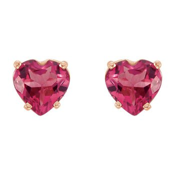 14K Rose Pink Tourmaline Heart Earrings