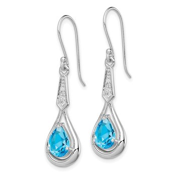 Sterling Silver Rhodium-plated w/CZ & Blue Topaz Dangle Earrings