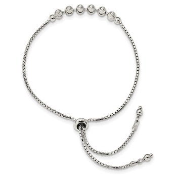 Sterling Silver Diamond-cut Beaded Adjustable Bracelet