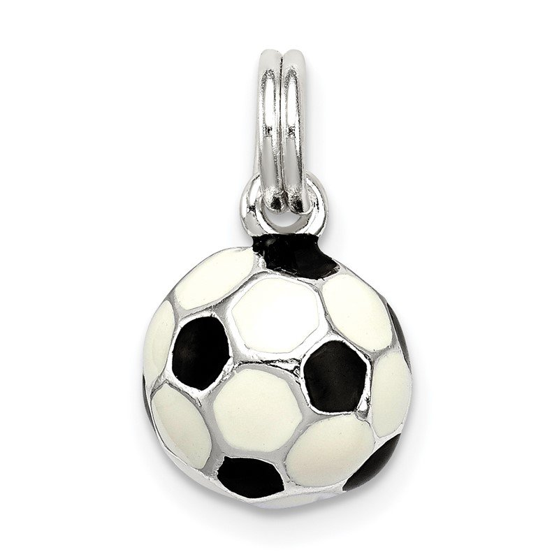 Quality Gold Sterling Silver Black & White Enameled Soccer Ball Charm