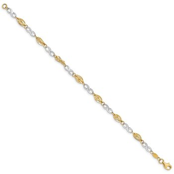 14K Two-Tone Polished Infinity Symbol 7.5in Bracelet
