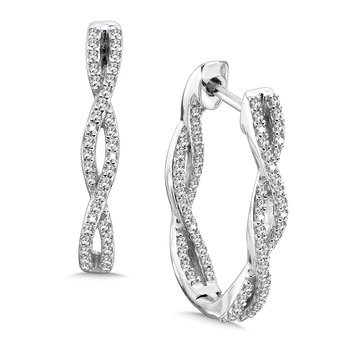 Pave set Diamond Twisted Inside/Out Hoops in 14k White Gold (1/2 ct. tw.) JK/I1