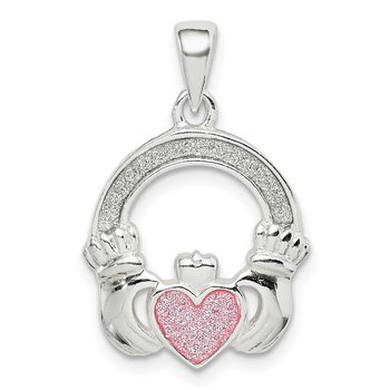Sterling Silver Glitter Infused Claddagh Pendant
