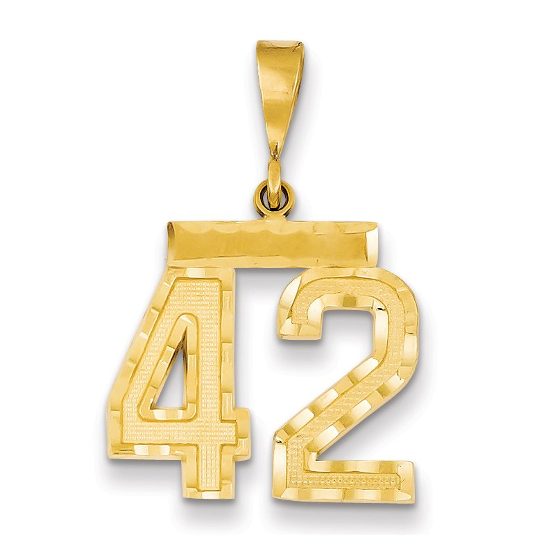 Quality Gold 14k Medium Diamond-cut Number 42 Charm