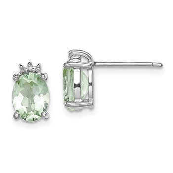 Sterling Silver Rhodium-plated Oval Green Quartz & Diamond Post Earrings