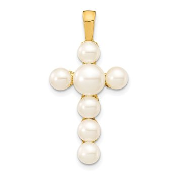 14K 4-6mm White Button Freshwater Cultured Pearl Cross Pendant