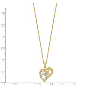 10k Tri-Color Black Hills Gold Hummingbird in Heart Necklace