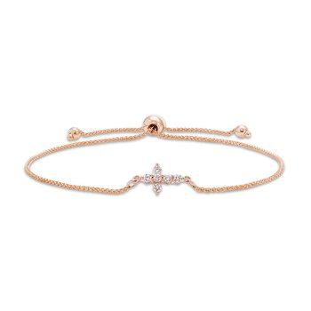 Rose gold & diamond cross bolo bracelet