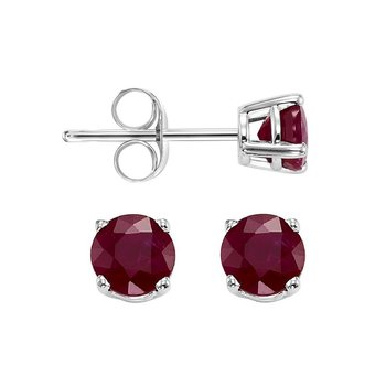 Four Prong Ruby Studs in 14K White Gold (4 MM)