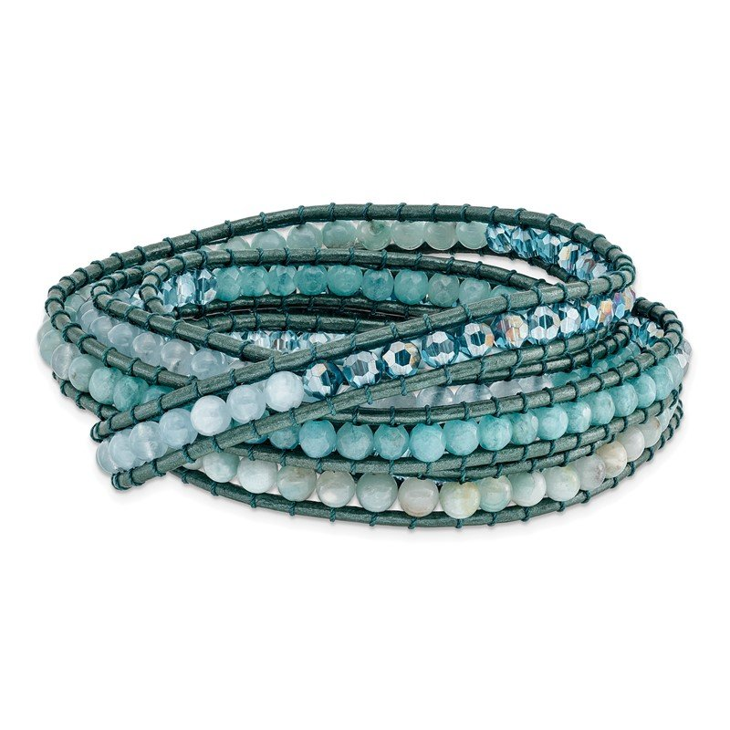 Quality Gold Amazonite/Crystal/Blue Quartz/Leather Multi-wrap Bracelet