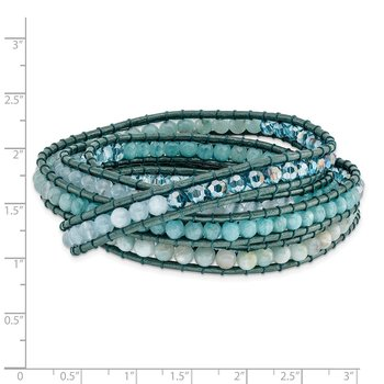 Amazonite/Crystal/Blue Quartz/Leather Multi-wrap Bracelet
