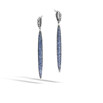 Classic Chain Spear Drop Earring, Silver, Gemstone