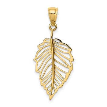 14K Polished Leaf Pendant